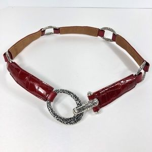 Brighton Cher Belt Cherry Red Patent Leather Sz 32